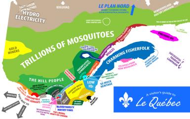 Une carte du Québec vu par les anglais…