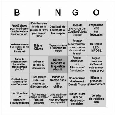 Les cartes de Bingo pour le débat électoral